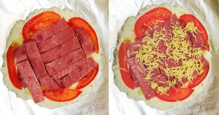 Добавляем ветчину и сыр на пиццу без теста