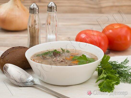 Вкусный суп с телятиной и рисом