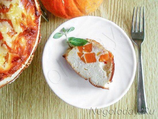 Аппетитный кусочек низкокалорийной запеканки из творога и тыквы