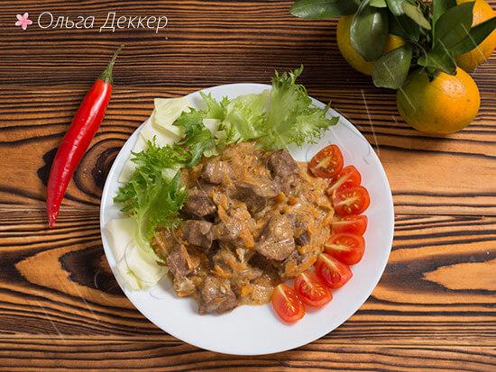 Диетическая телятина с овощами