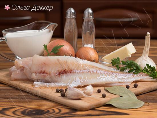 Продукты для блюда - Минтай в сливочном соусе