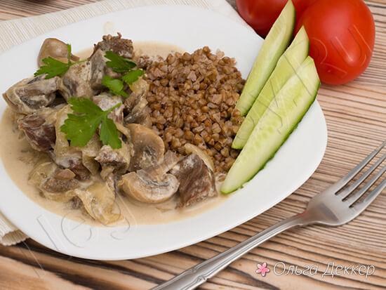 телятина с грибами в сливочном соусе