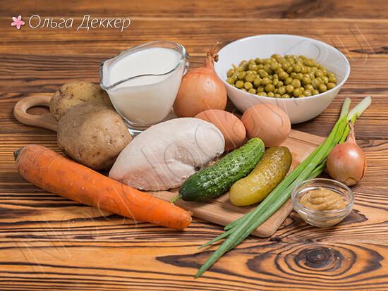 Продукты для блюда Диетический Оливье