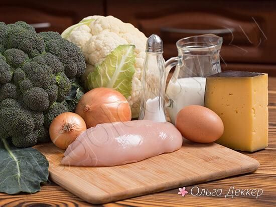 Продукты для блюда - цветная капуста с куриной грудкой