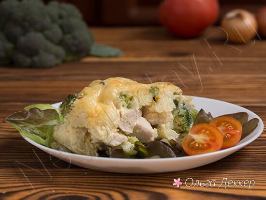 запеченная куриная грудка с брокколи и цветной капустой