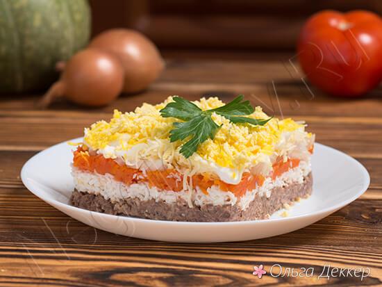 Низкокалорийный салат мимоза с тунцом
