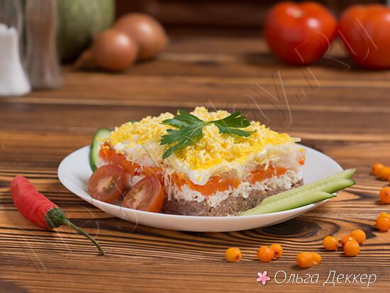 Салат мимоза с горбушей и яблоком классический рецепт с