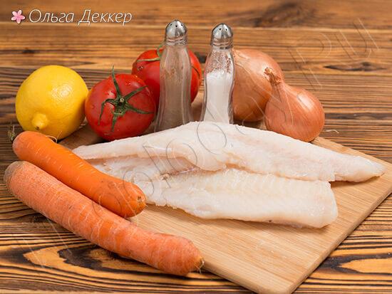 Продукты для блюда Треска под маринадом