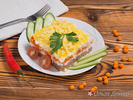 Простой салат мимоза с тунцом